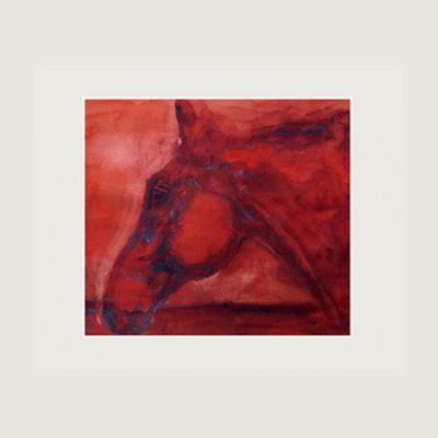 Röd tavla med en häst
