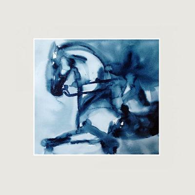 Blå tavla med en häst