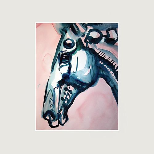 Rosa/blå tavla med häst