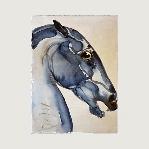 Beige/blå tavla med häst