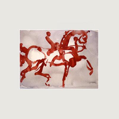 Tavla med en röd häst och ryttare