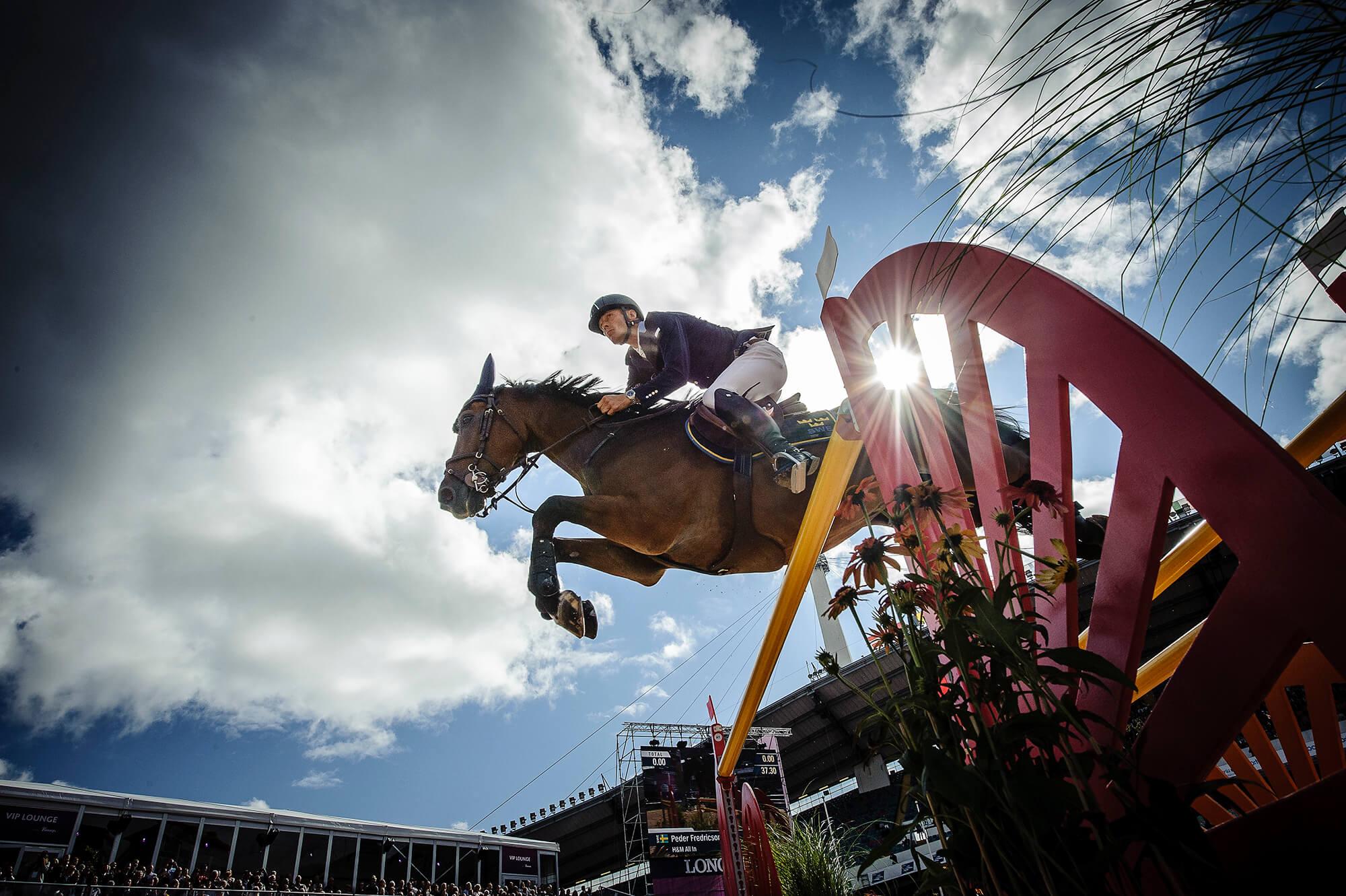 Ryttare och häst fotograferat underifrån vid ett hinder