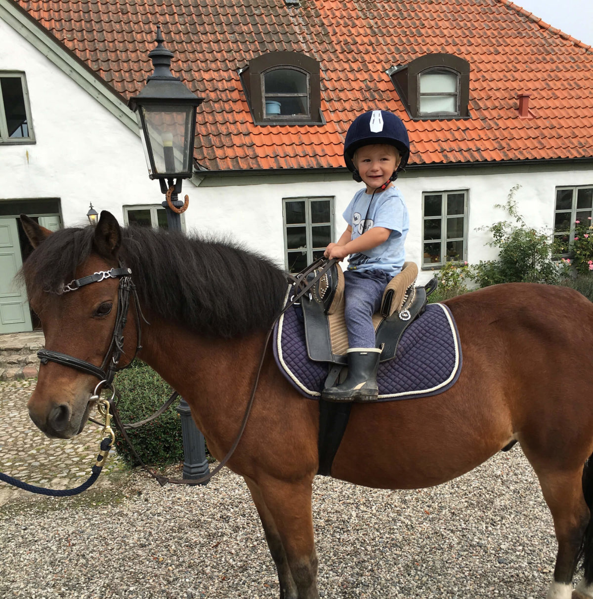 Ett litet barn sitter på en häst utanför ett av husen vid Grevlundagården
